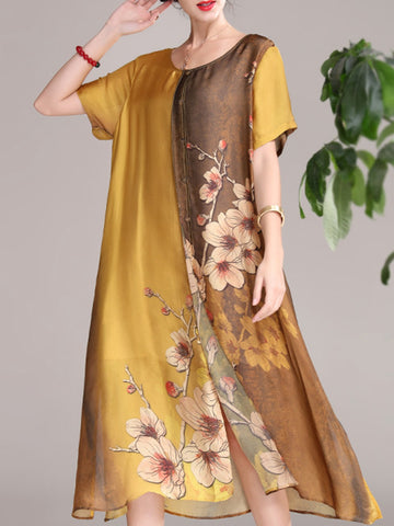 Chiffon long dress short sleeve loose a-line skirt
