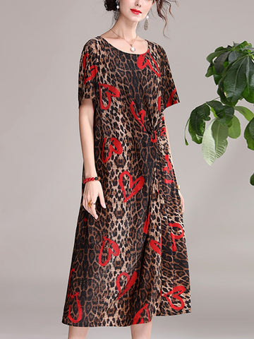 Leopard print red heart print round neck waist pleated short sleeve dress