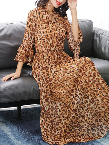 Elegant lace leopard print over the knee waist dress with a sling