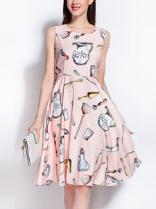 Cutlery print high waist slimming simple large vest dress