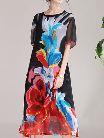 Printed mesh long skirt vacation casual a-line dress