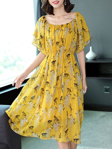Printed elastic waist with a word flying fly sleeve dress chiffon dress