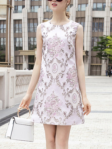 Flower jacquard round neck sleeveless high waist a-line dress