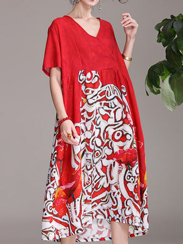 Festive red print v-neck short-sleeved loose midi dress