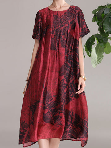 Vintage printed dress new round neck short sleeve loose dress