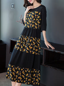 Printed pleated five-point sleeve dress chiffon over-the-knee dress