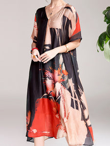 Printed classic v-neck loose medium long short-sleeved dress