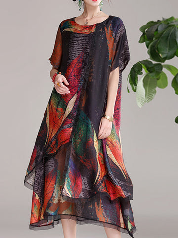 Loose chiffon dress print maternity dress