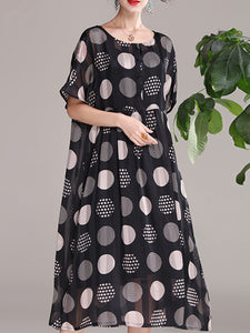 Polka dot printed round neck short sleeve dress and inner sling dress