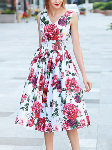 V-neck sleeveless peony print vest waist long dress