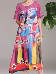 Elegant new ramie fabric medium long dress