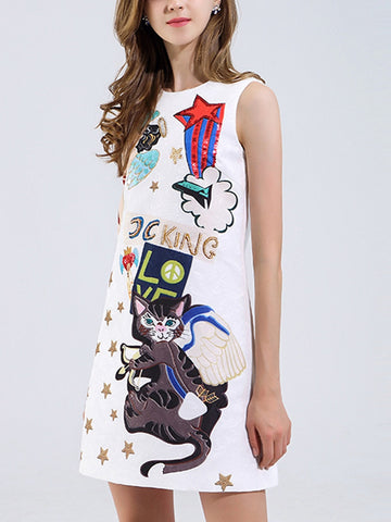 Machine cat printing heavy work beaded sequins sleeveless vest a word skirt