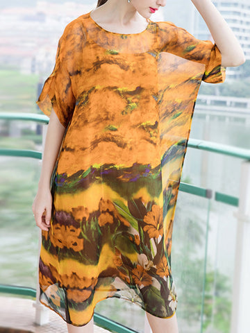 Round neck short sleeve loose printed silk dress two-piece suit