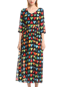 V-neck color love print five-point sleeve high waist pleated large dress