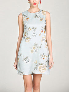 Temperament beaded flower round neck high waist a word jacquard dress