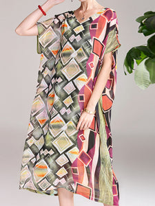 Ethnic style square print pattern decoration v-neck bat sleeve dress
