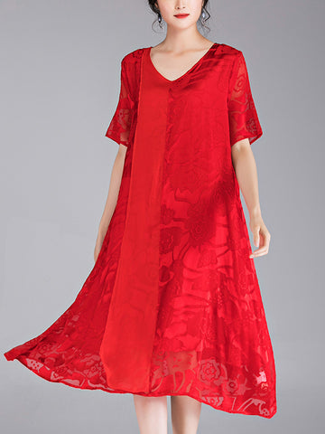 Silk dress long elegant dress burnt temperament elegant wholesale