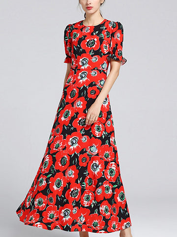 Flower abstract print round neck short sleeve high waist dress
