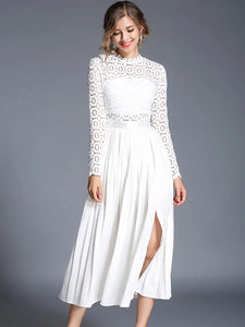 White a-line paneled pleated slit cocktail midi dress