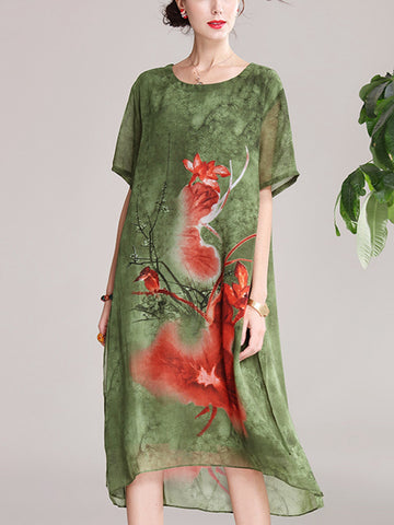 Flower and bird pattern green round neck short sleeve loose midi dress