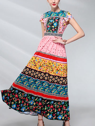 Fashion floral contrast print high waist short sleeve long dress