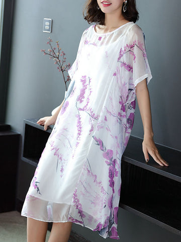 New printed chiffon skirt and white sling two-piece suit dress