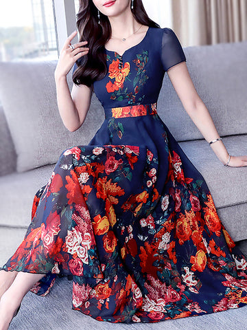 Short sleeve holiday a-line boho floral-print midi dress