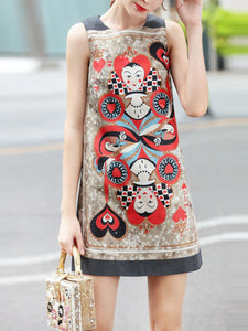 Sleeveless fashion love animated print temperament a word short dress