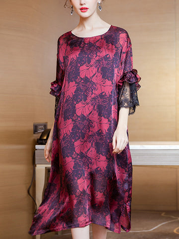 Round neck retro print trumpet sleeve dress and suspender skirt