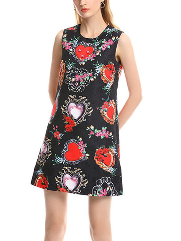 Heavy work beaded beaded love positioning printing a-line dress