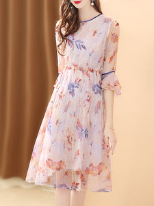 Light pink crew neck a-line daily floral printed midi dress