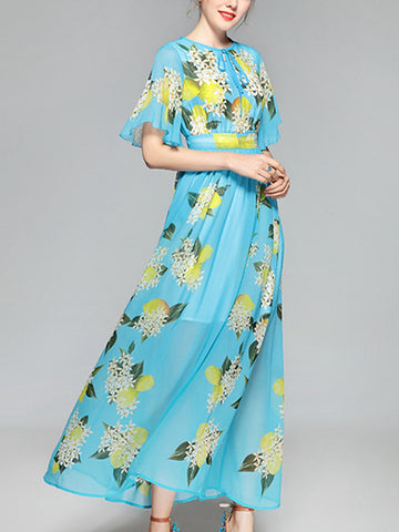 Lemon flower print round neck fly flying sleeves high waist large dress