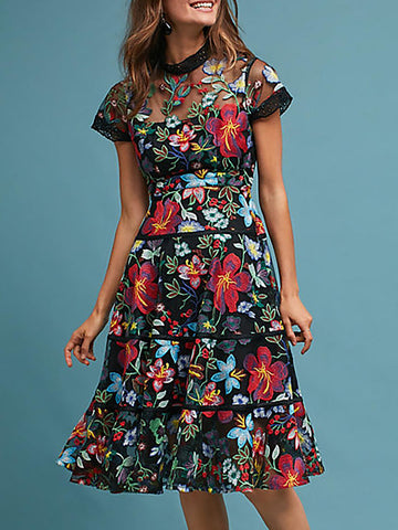Holiday multicolor a-line daily floral midi dress