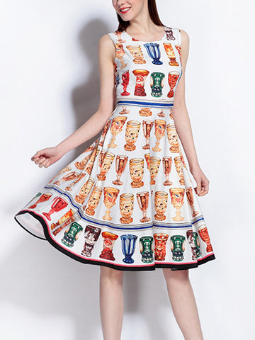 Simple bottle print sleeveless vest mid-skirt print large swing dress