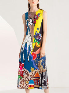 Heavy duty beaded sequined giraffe sleeveless high waist dress