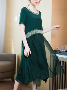 Round neck embroidered short-sleeved loose silk dress a-line skirt