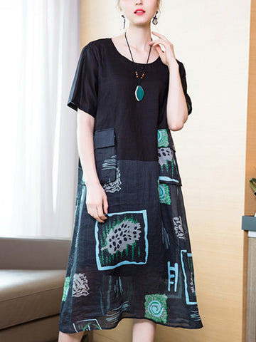 Round neck print splicing cotton and linen dress and two-piece sling