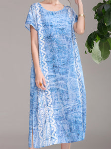 Vintage print dress new ramie short sleeve loose skirt