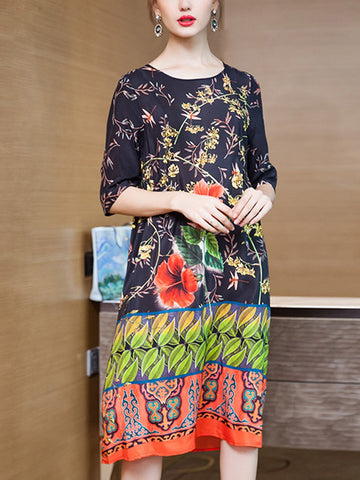 Five-point sleeves loose printed silk dress