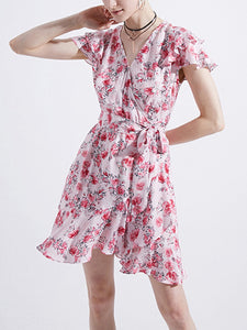 Printed v-neck flying short sleeve with large swing ruffled irregular skirt