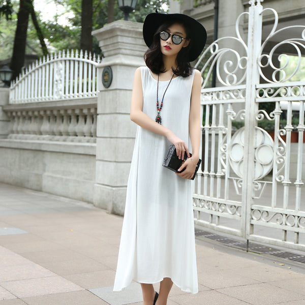 Loose cotton and linen vest with long skirts hot bottoming dress