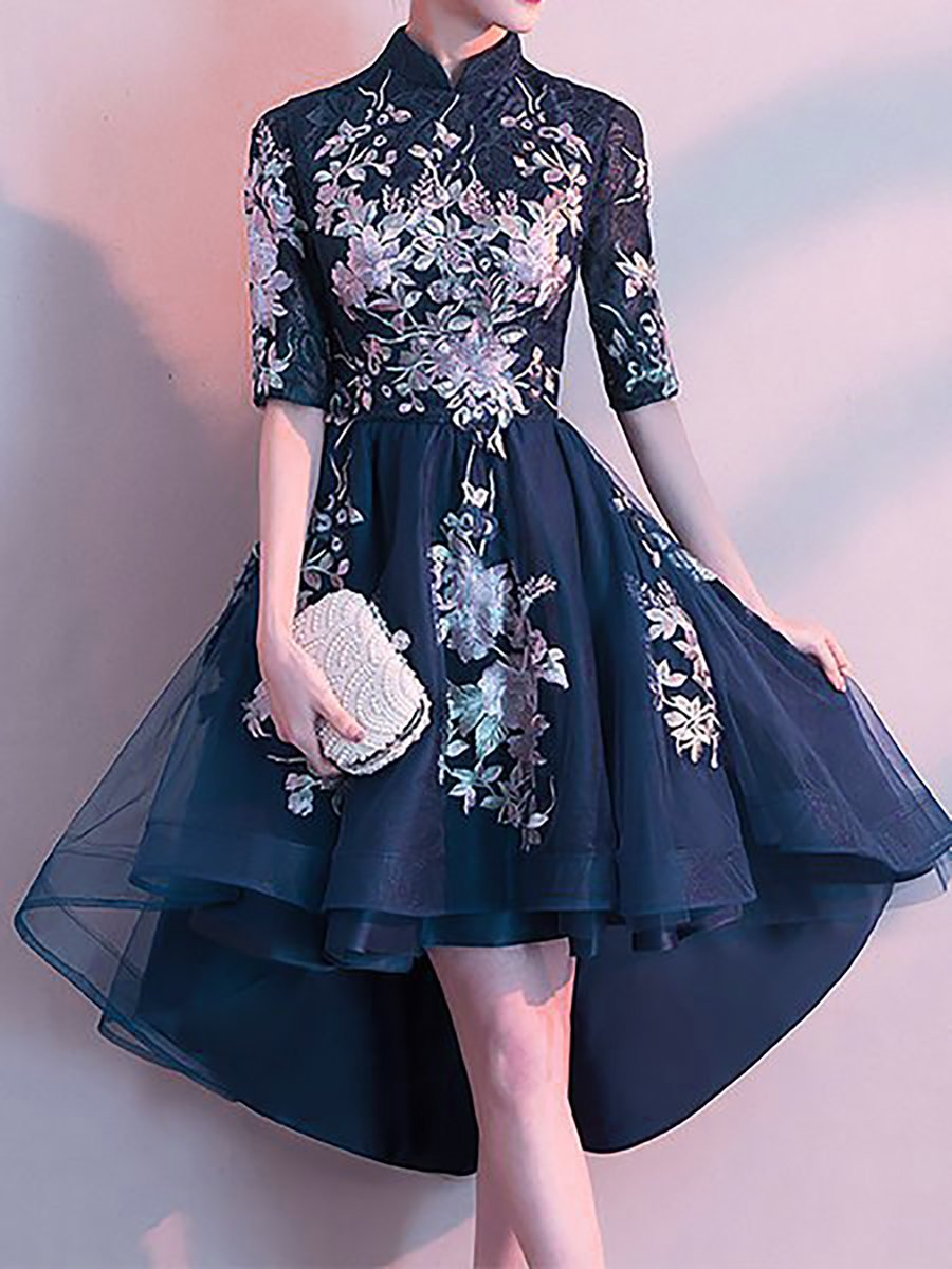 A-Line Evening Embroidered Mini Dress