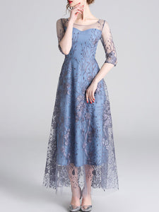 Blue Embroidered Guipure Lace Party Elegant Maxi Dress