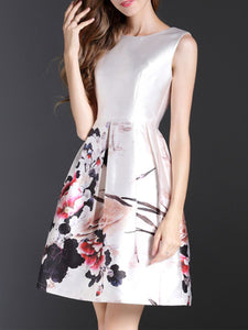 White Sleeveless A-Line Date Printed Floral Midi Dress