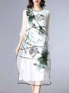 Silk organza embroidered dress long skirt beach skirt