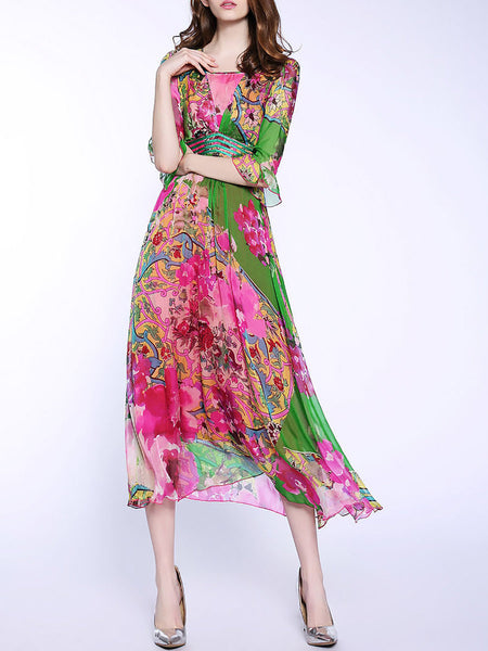 Square neck Fuchsia Swing Frill Sleeve Silk Elegant Floral Midi Dress