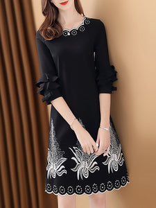 Black Sheath Leaf Embroidered Frill Sleeve Work Statement Midi Dress