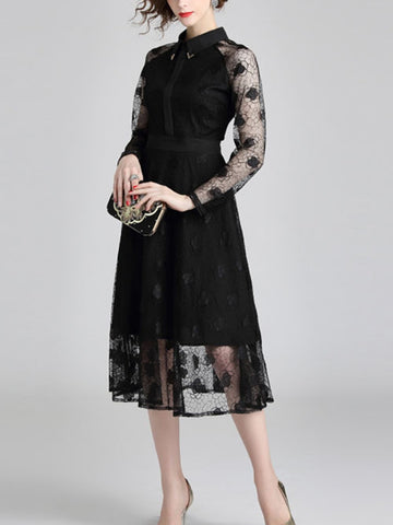Fashion slim lapel long sleeved long lace dress