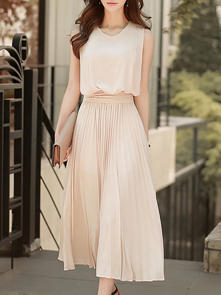 Apricot a-line daytime sleeveless chiffon paneled plain midi dress