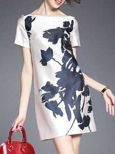 Bateau/boat Neck Printed Sheath Date Elegant Mini Dress